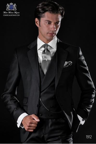 Italian bespoke black suit pure wool serge