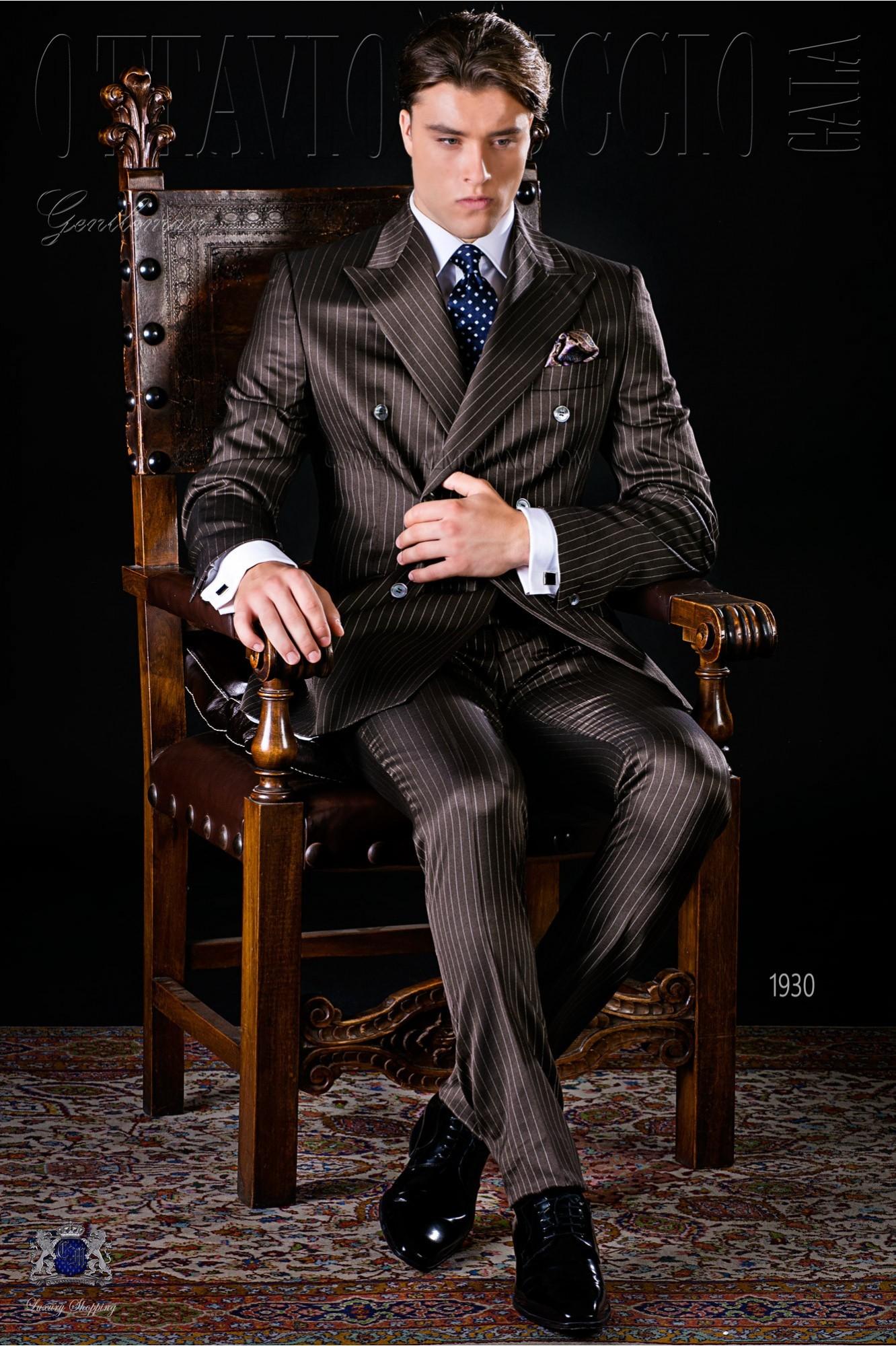 Italian bespoke brown pinstripe double breasted suit model 1930 Ottavio Nuccio Gala