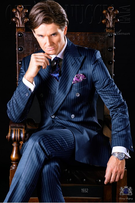 Bespoke suit double breasted blue pinstripe Ottavio Nuccio Gala