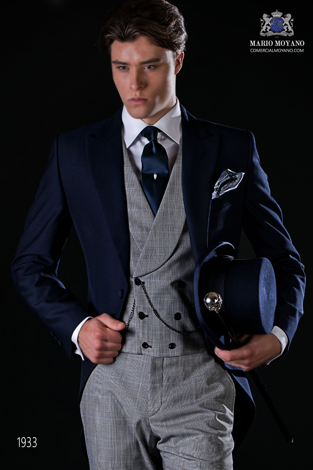 """Bespoke blue morning suit with """"Prince of Wales"""" trousers model 1933 Ottavio Nuccio Gala"""