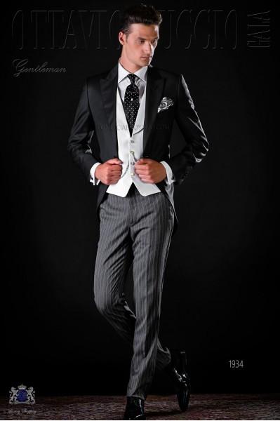 Italian bespoke morning suit cool wool black