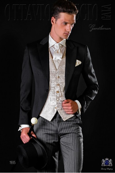 Italian bespoke morning suit black pure wool