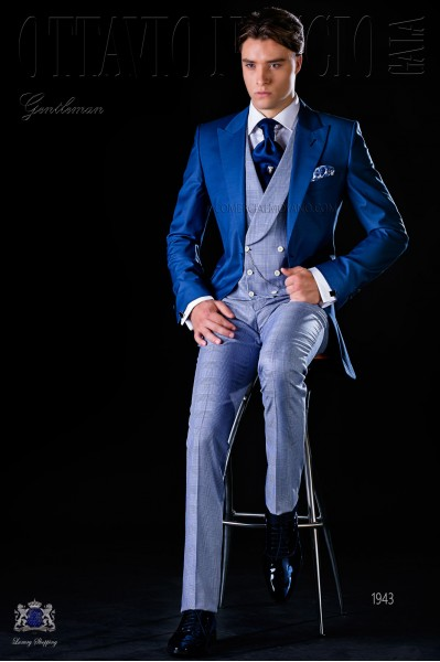 "Bespoke royal blue frock coat and ""Prince of Wales"" trousers"