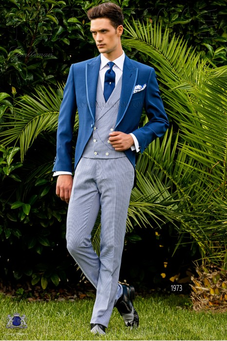 """Bespoke royal blue frock coat and """"Houndstooth"""" trousers"""