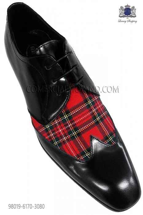 "Red tartan and black leather ""Golf"" shoes"