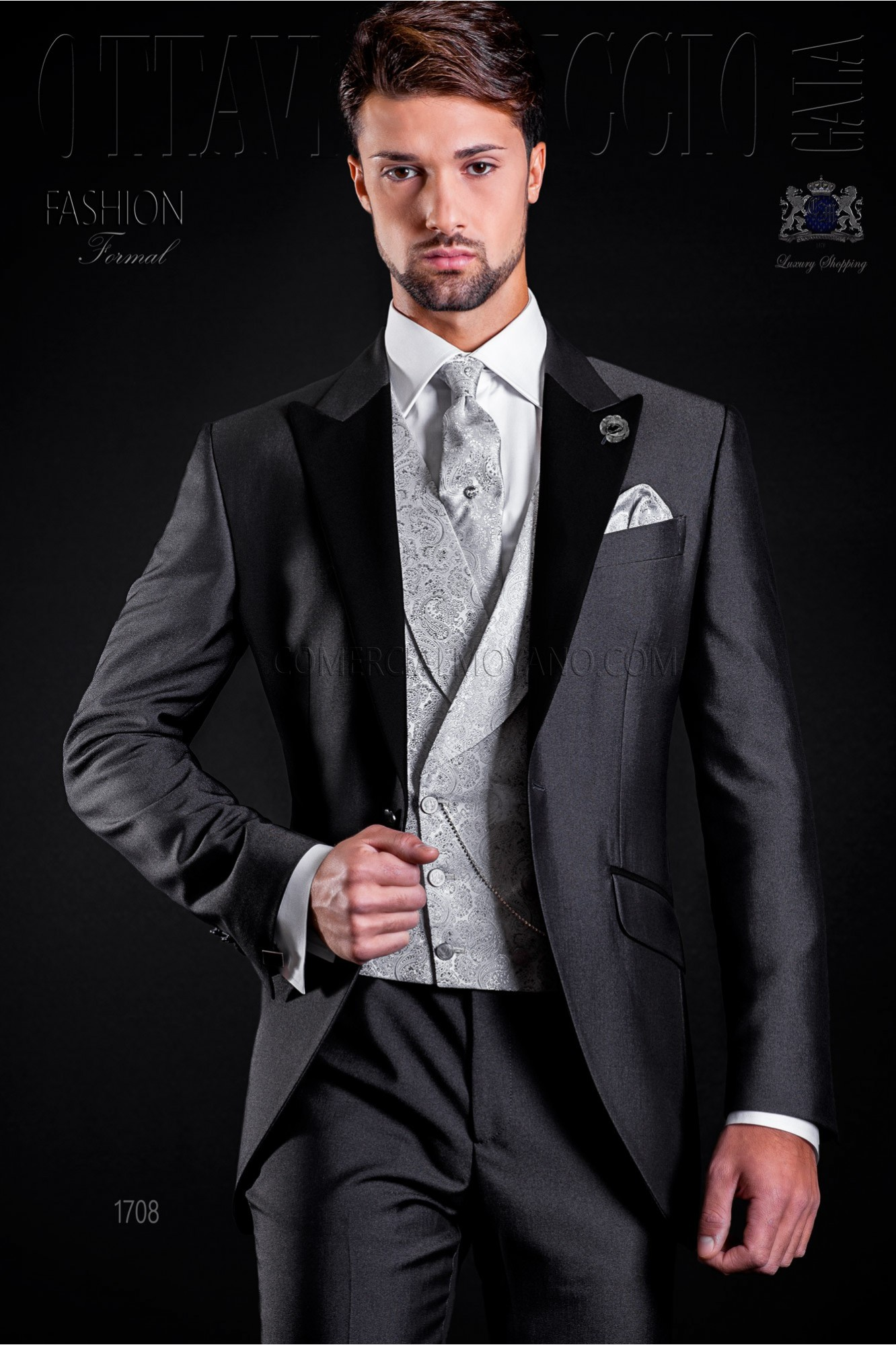 Wedding suit anthracite grey with black peak lapels