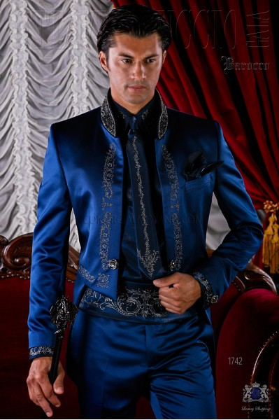 Gothic blue satin tail coat with silver embroidery.