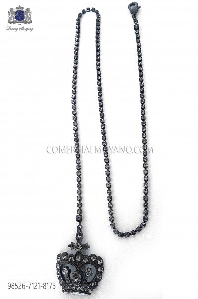 Oxidised silver chain with crown pendant Ottavio Nuccio Gala.