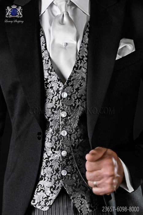 Black and silver waistcoat in pure silk Jacquard