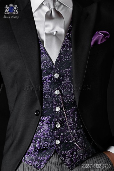 Purple groom waistcoat in silk jacquard fabric