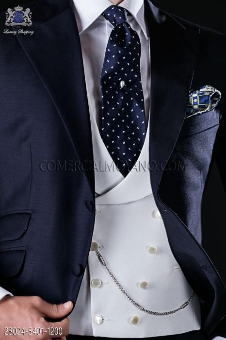 8-button white cross vest