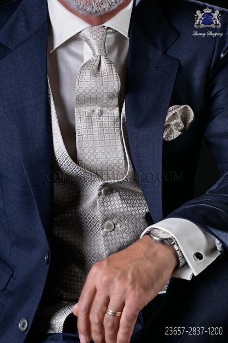 Silver groom waistcoat in pure jacquard silk