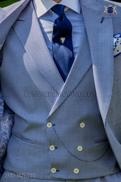 Blue houndstooth cross design vest
