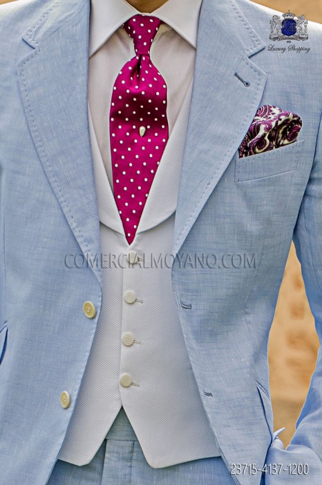Straight groom white waiscoat with flaps