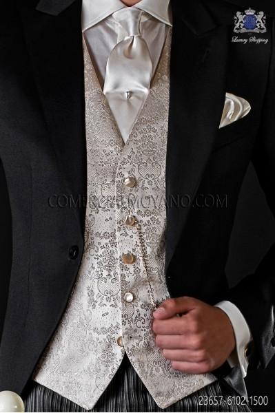 Ivory-pearl groom waistcoat in silk jacquard fabric