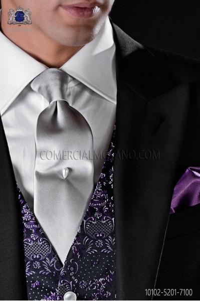 Italian Satin Silver Necktie