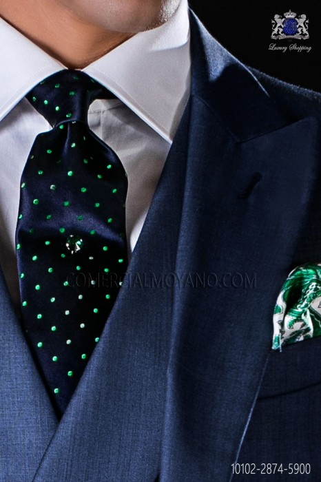 Navy blue tie with green polka dots designs