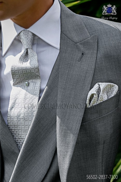 Tie with handkerchief silk jacquard gray pearl