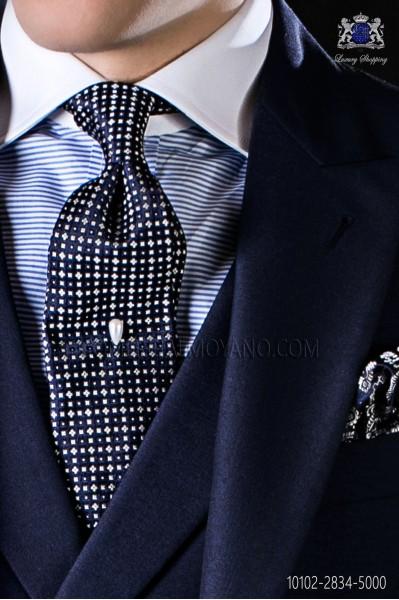 Corbata de seda azul marina con microdiseño