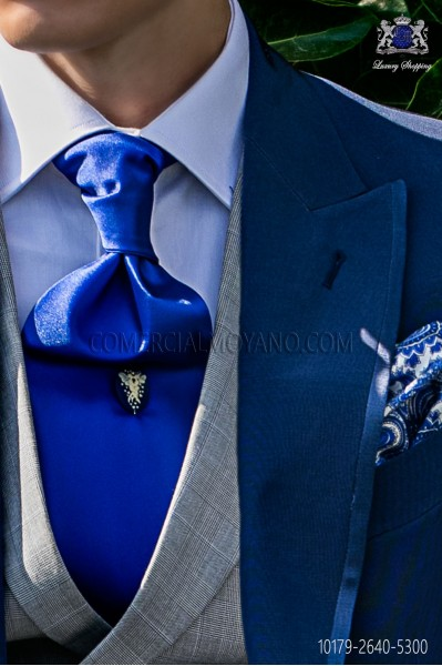 Italian pure jacquard silk royal blue tie white polka dots