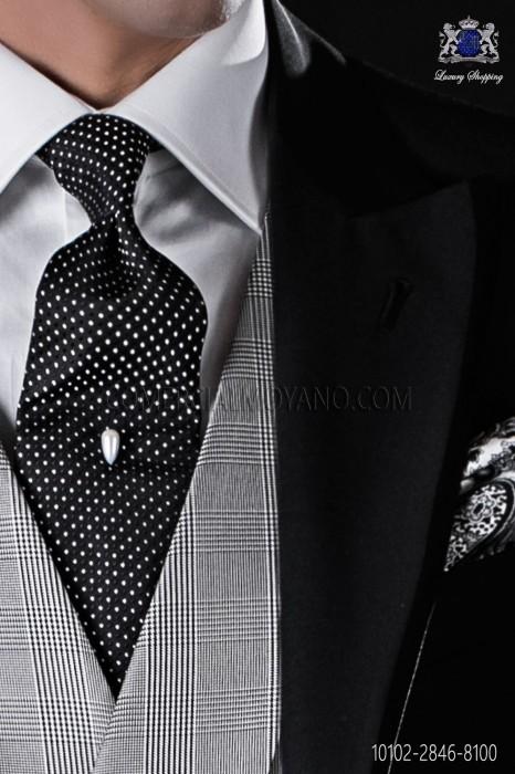 Black silk tie with polka dots