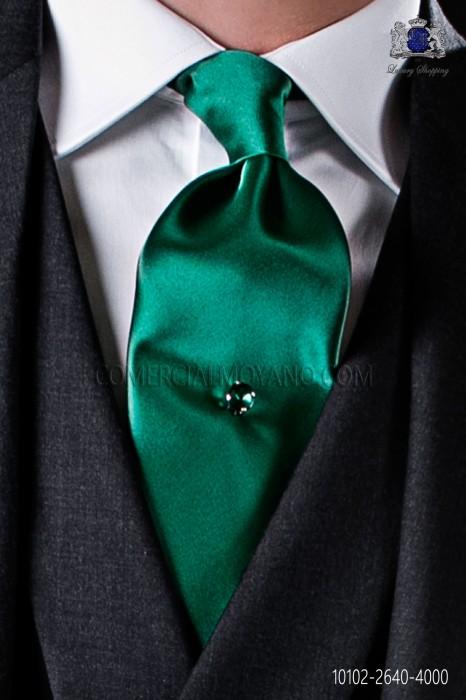 Green satin tie