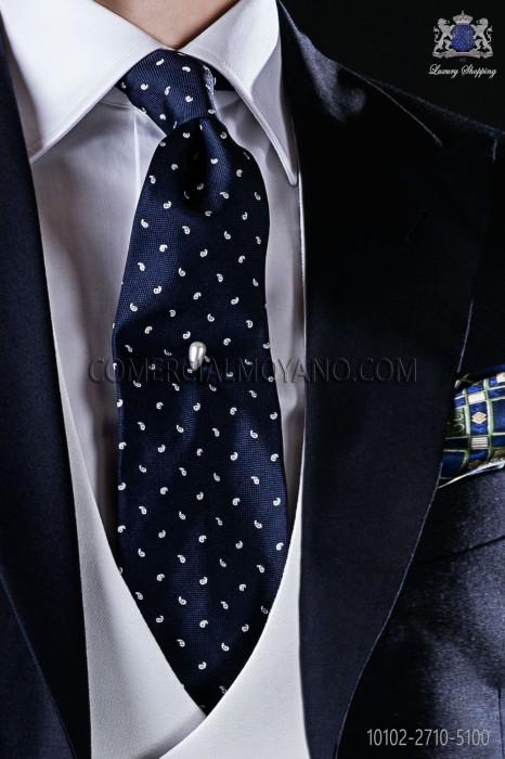 Navy blue Jacquard silk tie