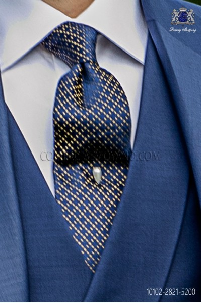 Pure blue silk tie with gold motifs