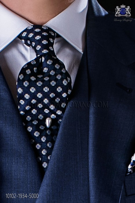 Navy blue tie with designs