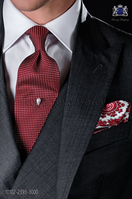 Red micro-design silk tie