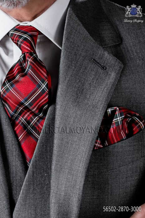 Red tartan design tie and pocket handkerchief in pure silk