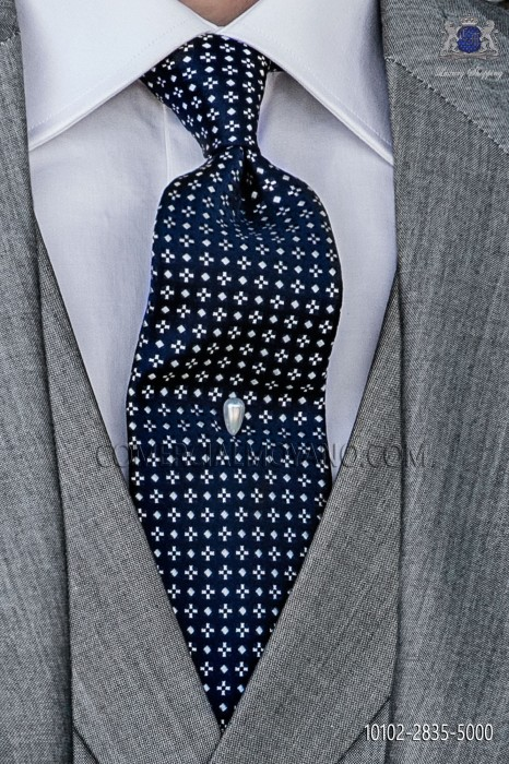 Navy blue silk tie with pearl motif