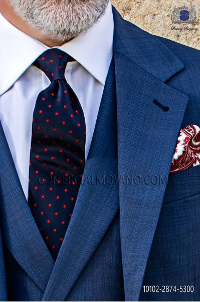 Navy blue tie with red polka dots designs