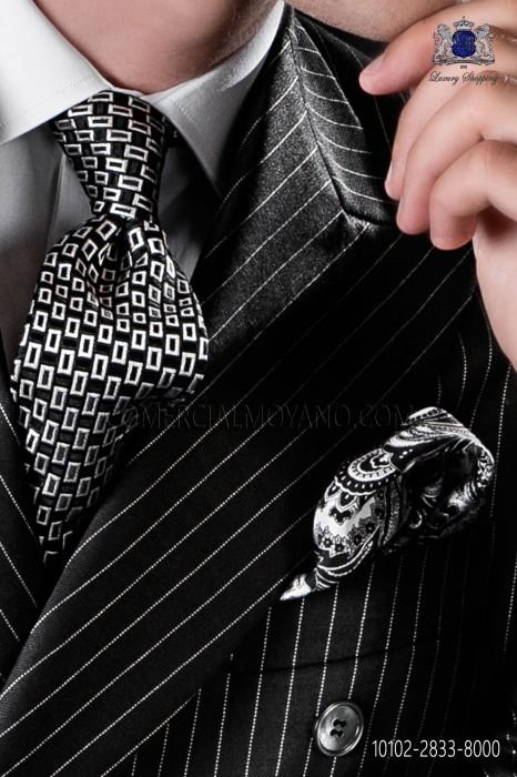 Silk black tie with micro designs