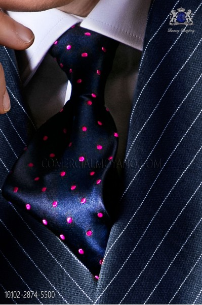 Navy blue tie with fuchsia polka dots designs