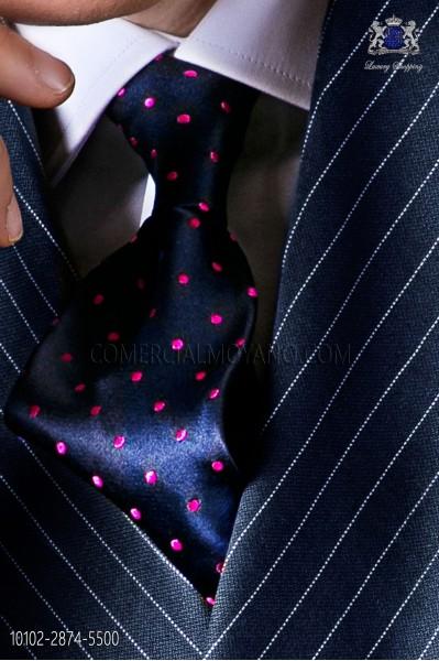 Navy blue tie with fuchsia polka dots designs