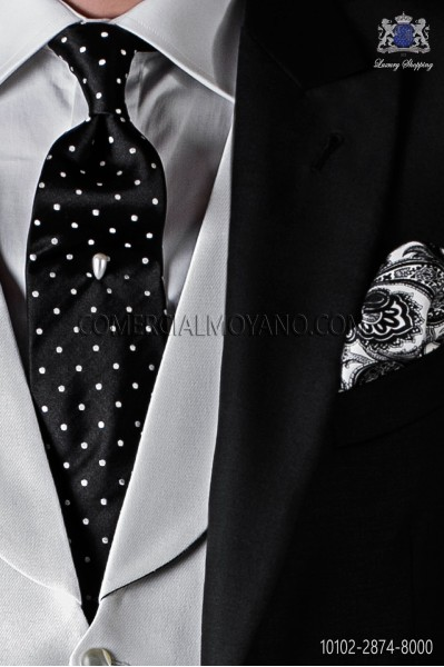 Black tie with white polka dots designs