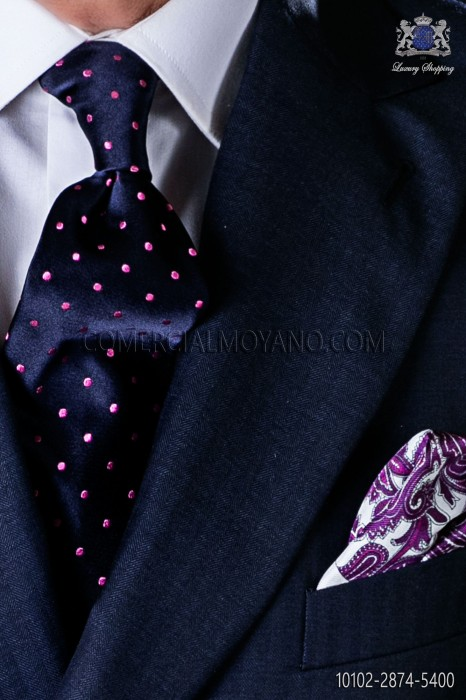 Navy blue tie with pink polka dots designs