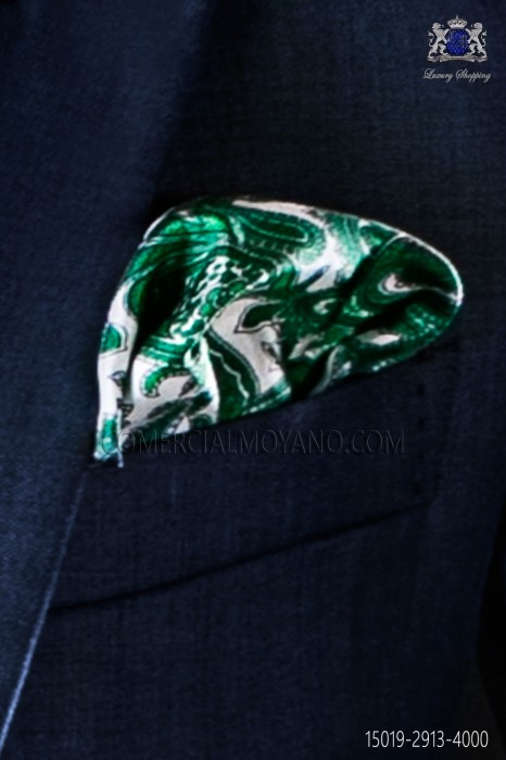 Pure silk pocket handkerchief with green paisley design
