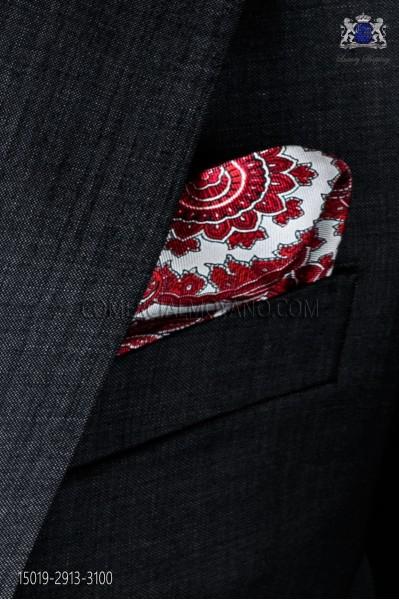 Pañuelo de pura seda blanco con diseño paisley rojo