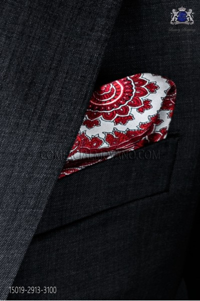 Pure silk white pocket square red paisley design