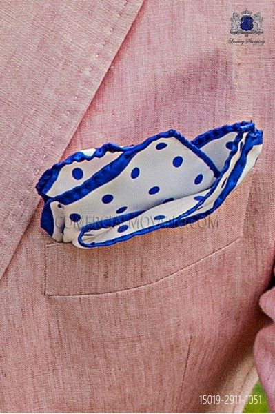 Pure silk white pocket square royal blue polka dots