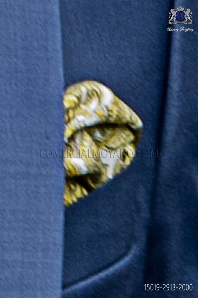 Pure silk white pocket square yellow paisley design