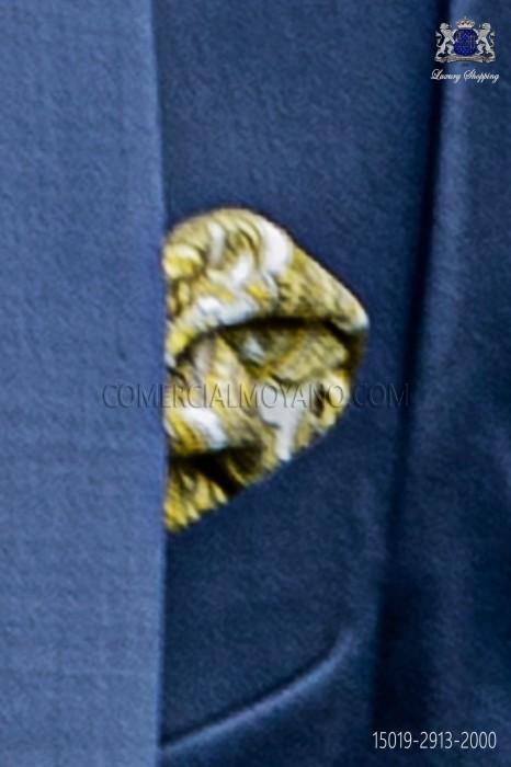 Pure silk white pocket square yellow paisley design