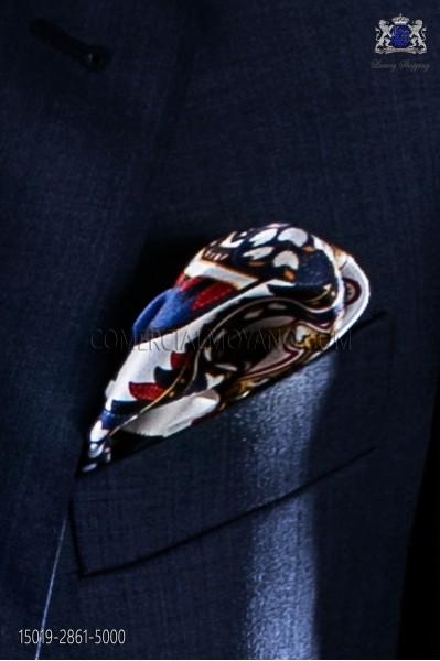 Blue silk fantasy designer handkerchief