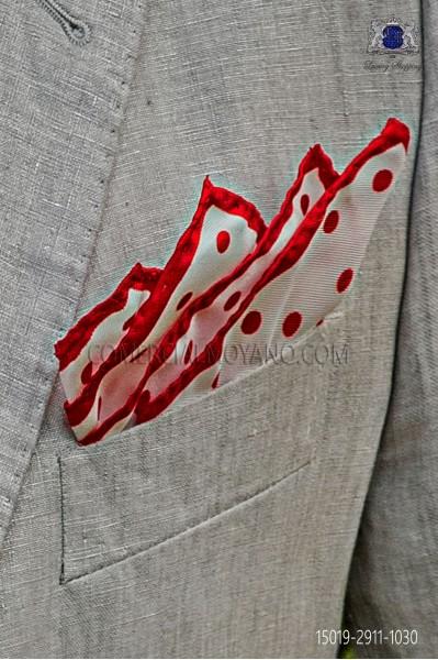 Pañuelo de pura seda blanco con lunares rojos