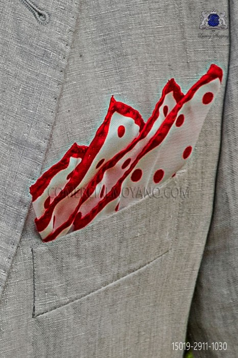 Pure silk white pocket square red polka dots