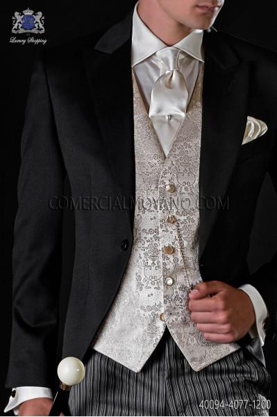 Camisa satén de algodón marfíl