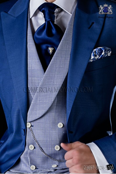 Chaleco cruzado Príncipe de Gales azul con solapa chal