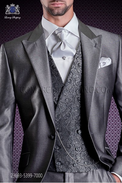 Dark gray jacquard waistcoat double breasted with shawl collar